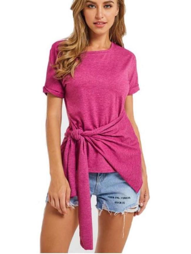 Fashion Round neck Tee Lacing T-Shirts