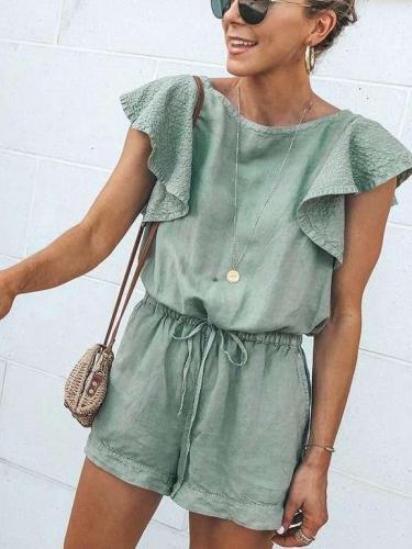 Fashion Falbala Lacing Jumpsuits