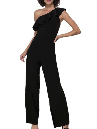 Chic One Shoulder Plain Slim Flouncing Jumpsuit