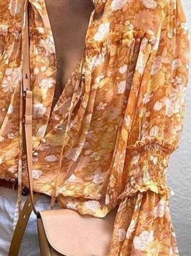 Fashion Print V neck Long sleeve Gored Blouses