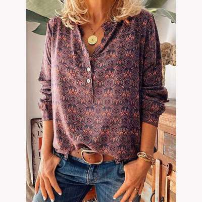 Fashion Print Stand collar Long sleeve Blouses