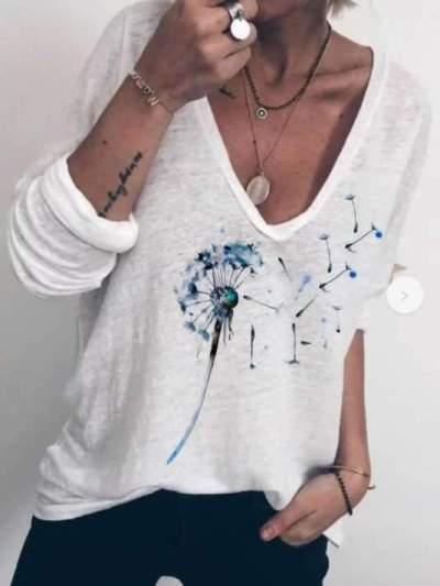 Casual Loose Print V neck Long sleeve T-Shirts