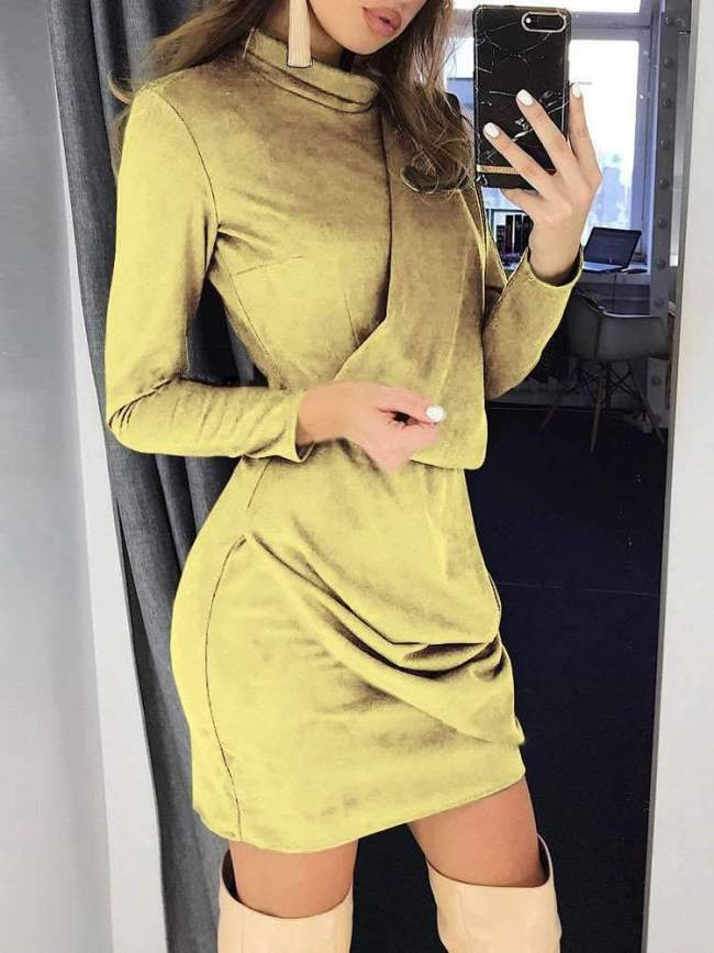 Pure Long sleeve Tee High collar Suede Bodycon Dresses
