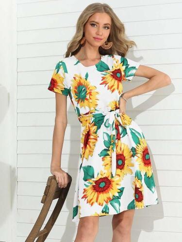 Fashion Print Round neck Lacing Short sleeve Skater Dresses