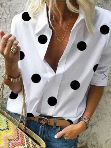 Fashion Point print Lapel Long sleeve Blouses