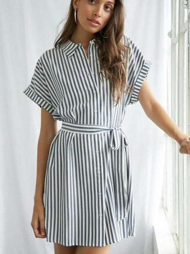 Fashion Stripe Lapel Short sleeve Lacing Shift Dresses
