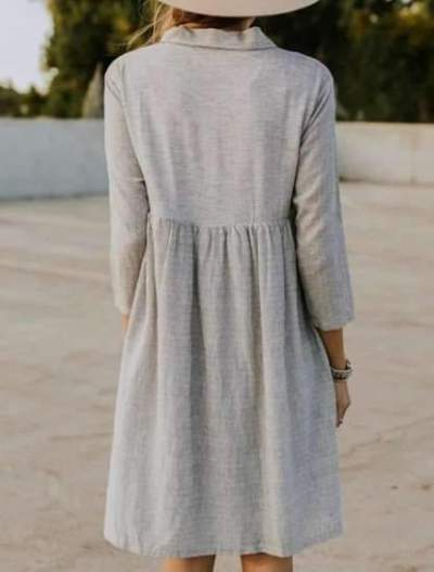 Fashion Fastener Lapel Gored Shift Dresses