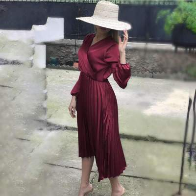 Fashion Drape V neck Long sleeve Skater Dresses