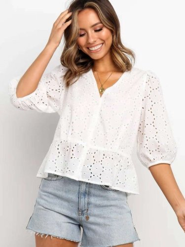 Pure V neck Hollow out Three quarter sleeve Blouses
