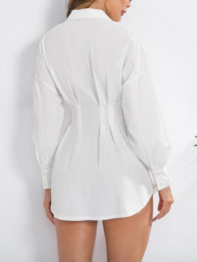 Solid color deep V neck waist sexy shirt shift dresses