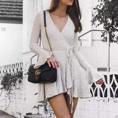 Fashion V neck Long sleeve Lacing Skater Dresses