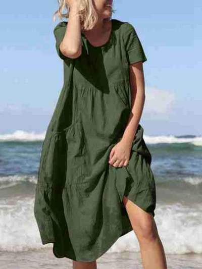 Casual Loose Pure Round neck Short sleeve Pocket Maxi Dresses