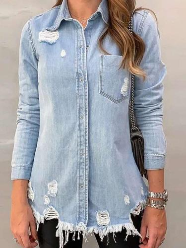 Fashion Purl Lapel Long sleeve Jeans Jackets