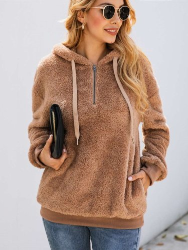 Fashion Pure Zipper Pocket Hairy Hoodies