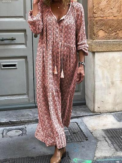Bohemian print long sleeve v-neck maxi dresses