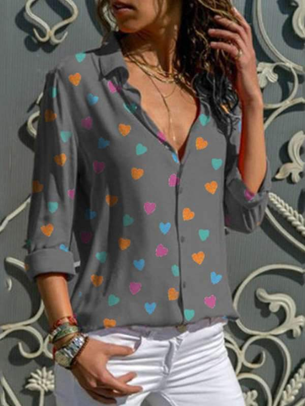 Love Printed Long Sleeve Women Slim Fashion Blouses