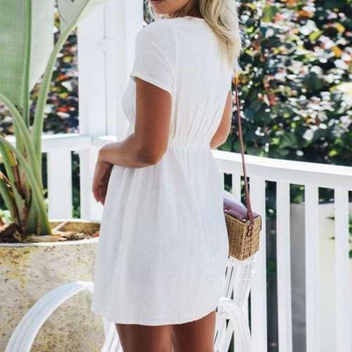 Casual Pure V neck Short sleeve Fastener Shift Dresses