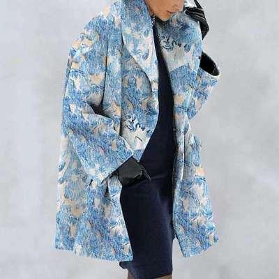 New Warm Fashion Print Shawl Collar Coat
