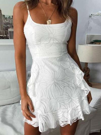 Fashion Print Round neck Vest Sleeveless Falbala Skater Dresses
