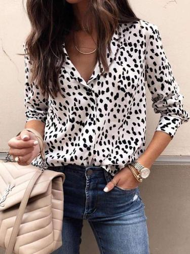 Fashion Leopard print Fastener Long sleeve Blouses