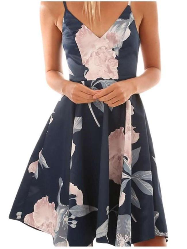 Fashion Print V neck Vest Skater Dresses