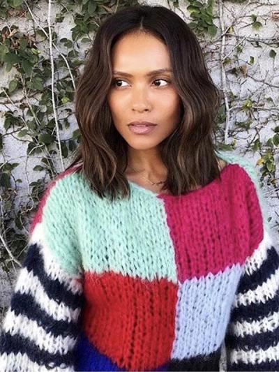 Knitting Split Joint Puff Sleeve Sweater Tops