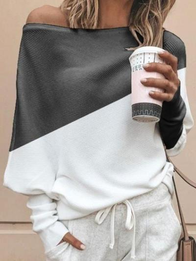 Loose casual one off shoulder bat sleeve Autumn knit sweaters Tops