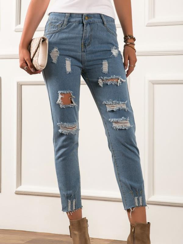 Women long blue jeans long pants