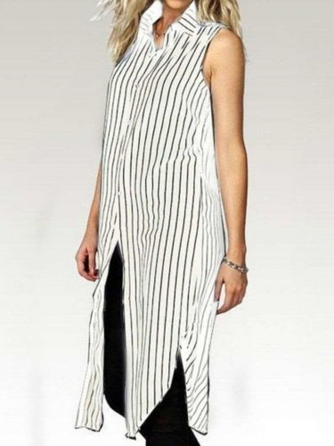 Casual Loose Stripe Lapel Sleeveless Vent Shirt Shift Dresses