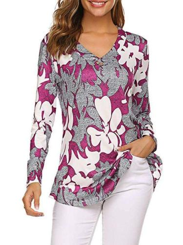 Fashion Loose Print V neck Long sleeve T-Shirts