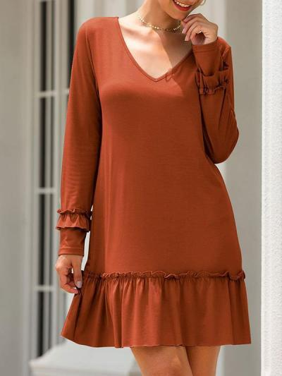 V neck women long sleeve shift dresses