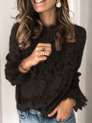 Fashion Lace Hollow out Stand collar Long sleeve Blouses
