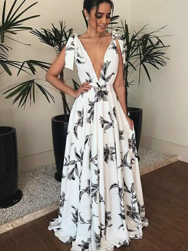 Fashion Print V neck Lacing Maxi Dresses