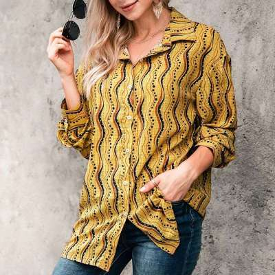 Fashion Casual Lapel Print Long sleeve Blouse