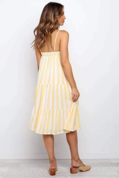 Fashion Stripe Vest Gored Maxi Dresses