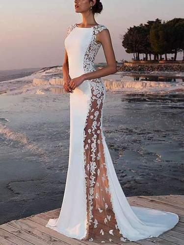 Sexy long dress floor-length fishtail  party wedding evening dress
