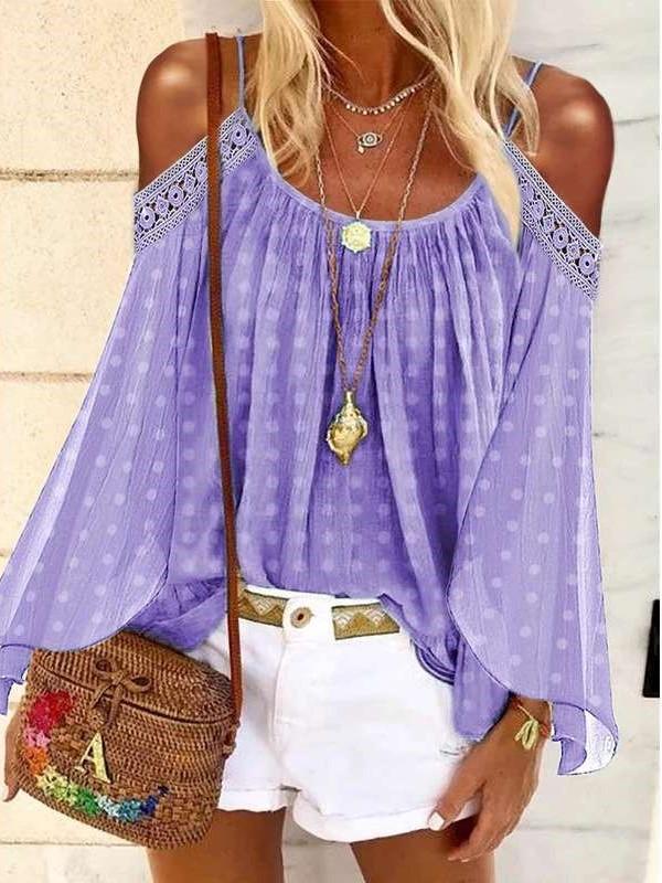 Fashion Casual Print Off shoulder Long sleeve T-Shirts
