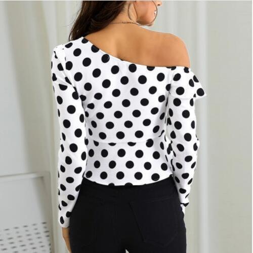Fashion Sloping Shoulder Polka Dot Chiffon Shirt