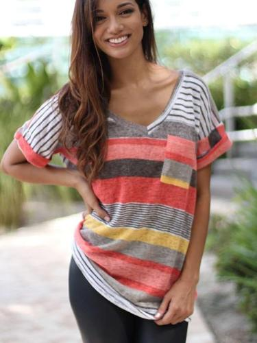 Casual Short sleeve Stripe T-Shirts