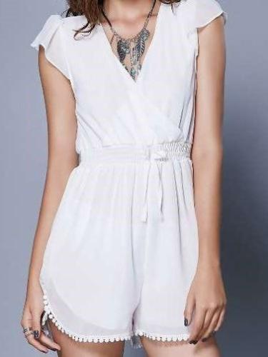 Fashion Pure V neck Snarl Lacing Jumpsuits