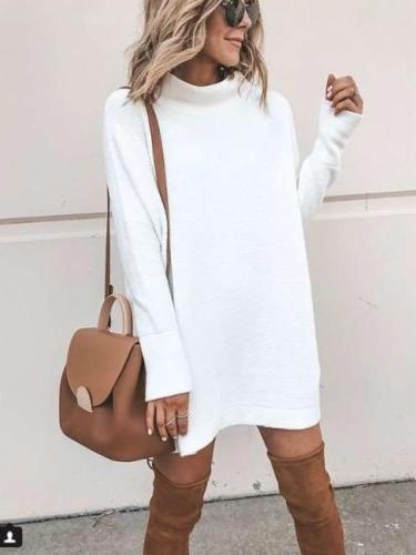 Fashion High collar Long sleeve Sweaters