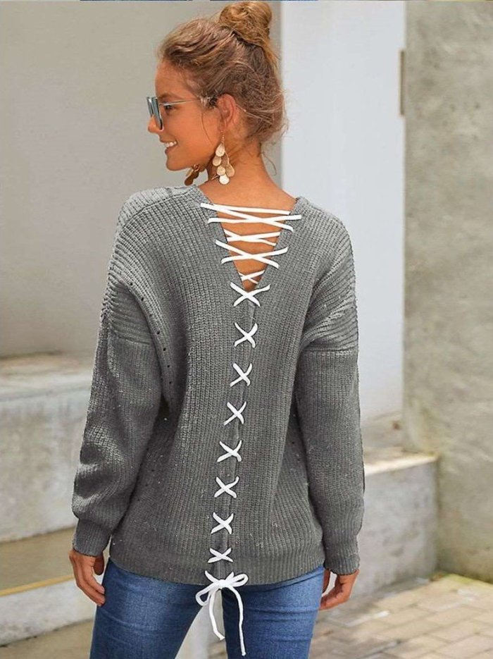 New Fashion Knit Lacing Long sleeve Sweaters