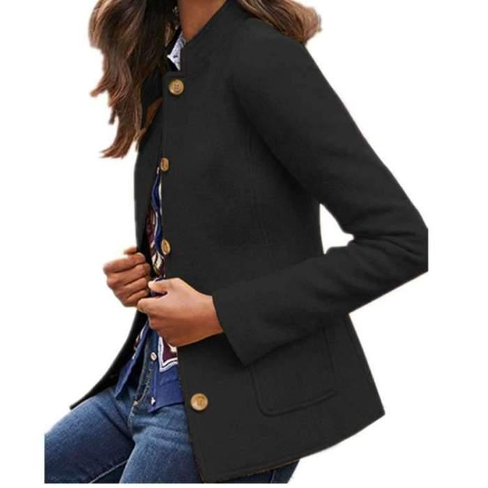 Fashion Pure Stand collar Long sleeve Coats