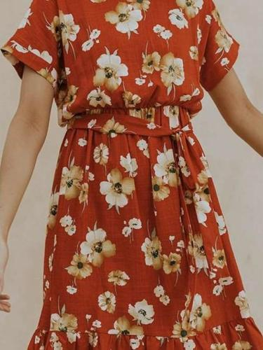 Casual Print Round neck Short sleeve Lacing Skater Dresses