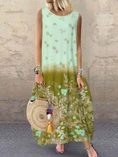 Women round neck vintage printed sleeveless maxi dresses