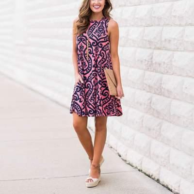 Fashion Print Sleeveless Vest Shift Dresses