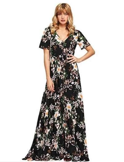 Print V neck Short sleeve Maxi Dresses