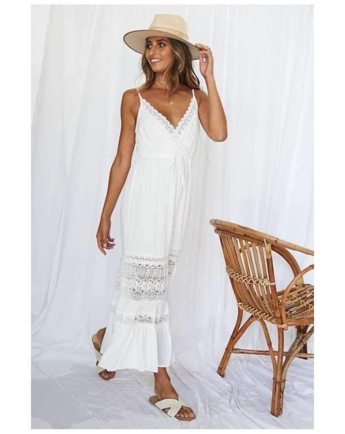 Fashion Sexy Lace Hollow out Vest Maxi Dresses