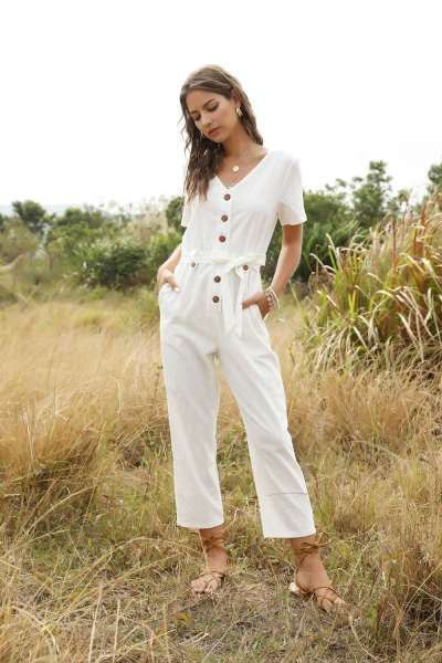 Fashion Pure V neck Single-breasted Lacing Jumpsuits
