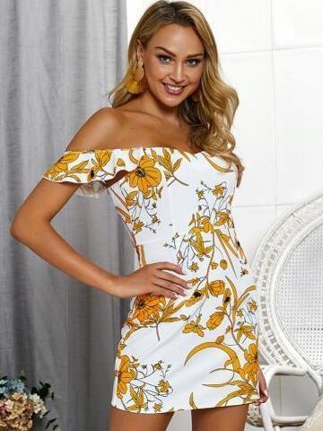 Floral  Shoulder girdle Falbala Shift Dresses